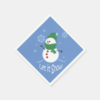 Cute Snowman Let it Snow Paper Serviettes