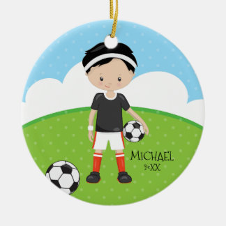 Cute Soccer Player Personalized Dated Christmas Round Ceramic Decoration