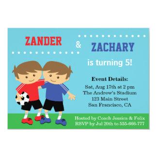 Cute Soccer Twins, Soccer Kids Birthday Party 13 Cm X 18 Cm Invitation Card