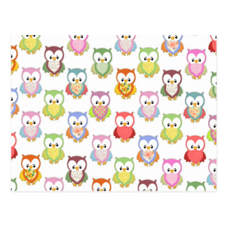 Cute soft colourful owls different chest patterns post card
