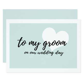 """Cute Soft Teal  """"to my groom on our wedding day"""" Card"""