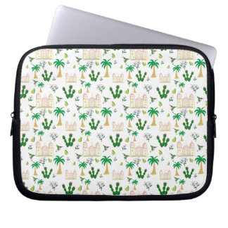 Cute Southern California Animal and Plant Pattern Laptop Sleeve