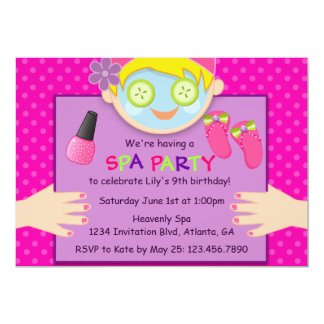 Cute Spa Birthday Party Invitation