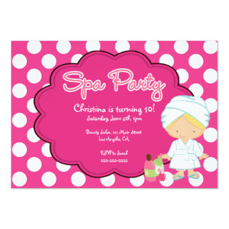 "Cute Spa Day Birthday Party Invitation 5"" X 7"" Invitation Card"