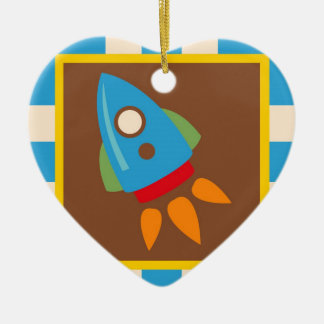 Cute Space Ship Rocket Outer Space Blue Kids Christmas Ornament