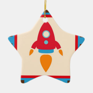 Cute Space Ship Rocket Outer Space Red Blue Christmas Ornament