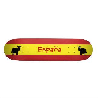 Cute Spanish Bulls & Flag Skateboard Deck