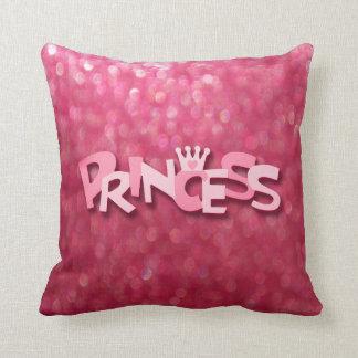 Cute Sparkly Pink Princess Bokeh Throw Pillow