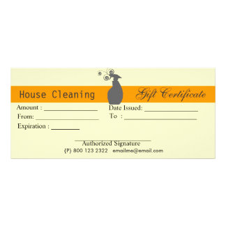 Cute Spray Bottle Housekeeping Gift Certificate Custom Rack Card