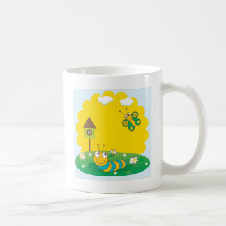 Cute spring card with caterpillar and butterfly. coffee mug