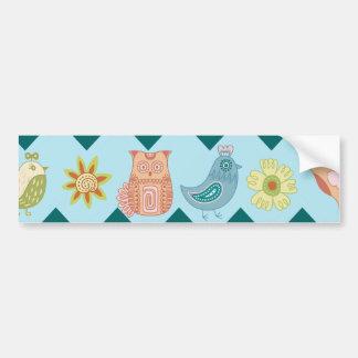 Cute Spring Chevron Whimsical Owls Birds Flowers Bumper Sticker