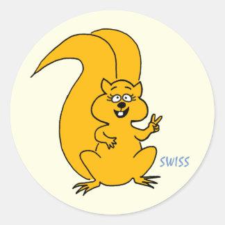 Cute Squirrel Flashing Peace Sign Round Sticker