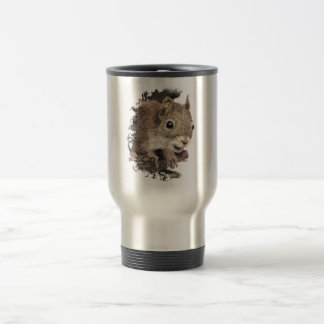 Cute Squirrel, Watercolor Animal Nature Stainless Steel Travel Mug