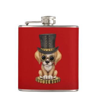 Cute Steampunk Golden Retriever Puppy Dog, red Hip Flask