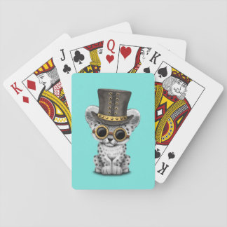 Cute Steampunk Snow Leopard Cub Playing Cards