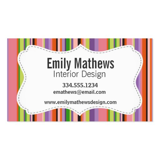 Cute Striped Business Card