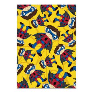 Cute Superhero Boy Pattern 9 Cm X 13 Cm Invitation Card