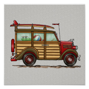 Car posters photo prints zazzle nz cute surfing woody poster junglespirit