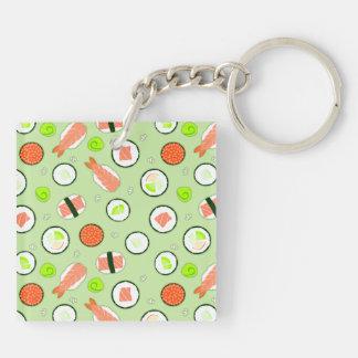 Cute Sushi Pattern Green Key Ring