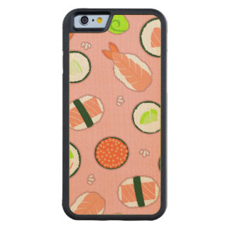 Cute Sushi Pattern Pink Carved Maple iPhone 6 Bumper Case