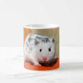 Cute Syrian Hamster White Black Spotted Funny Pet Coffee Mug