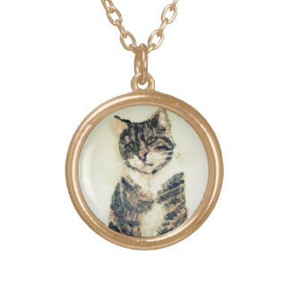 Cute Tabby Cat Painting Gold Plated Necklace