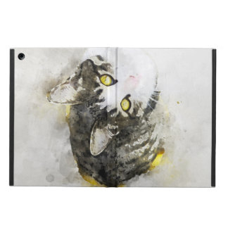 Cute Tabby Cat Watercolor Art Case For iPad Air