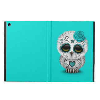 Cute Teal Day of the Dead Sugar Skull Owl Blue iPad Air Cases