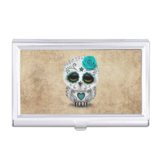 Cute Teal Day of the Dead Sugar Skull Owl Rough Business Card Holder
