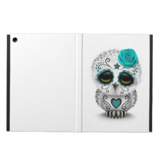 Cute Teal Day of the Dead Sugar Skull Owl White iPad Air Cover