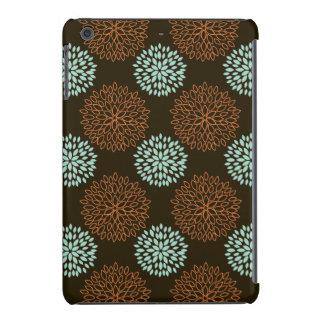 Cute Teal Green, Orange, and Brown Retro Flowers iPad Mini Retina Covers