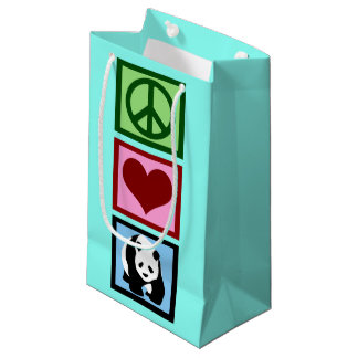 Cute Teal Panda Small Gift Bag
