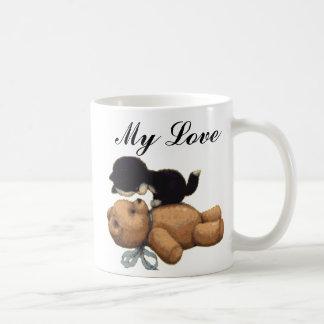 Cute Teddy Bear And Black Cat - My Love Basic White Mug