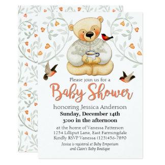 Cute Teddy Bear and Hearts Baby Shower 13 Cm X 18 Cm Invitation Card
