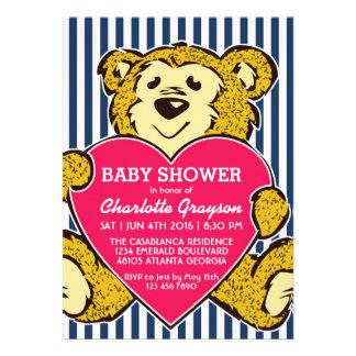 Cute Teddy Bear and Love Birthday Invitation