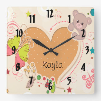 cute teddy bear butterfly heart kids wall clock
