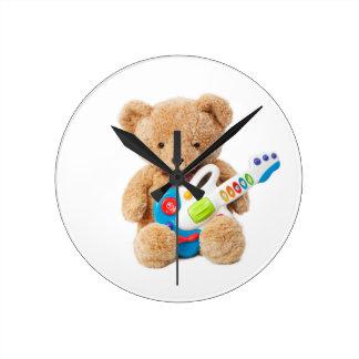 Cute Teddy Bear Guitar Wall Clock
