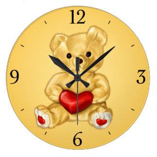 Cute Teddy Bear Hypnotist Yellow Children s Wallclock