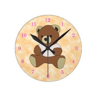 Cute Teddy Bear In Pink T-shirt Clocks