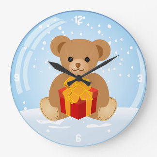 Cute Teddy Bear inside Christmas Snowball Wallclocks