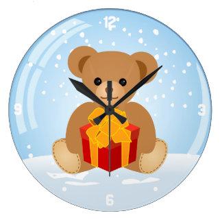 Cute Teddy Bear inside Christmas Snowball Clocks