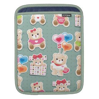 Cute teddy bear Pattern  on green background Sleeve For iPads