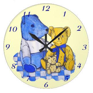 cute teddy bear still life art blue and yellow clocks