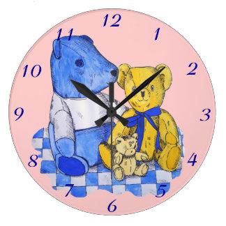 cute teddy bear still life art blue and yellow wallclocks