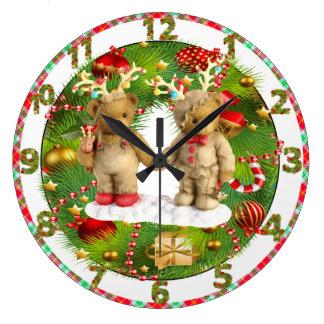 cute teddy bear sweet hearts christmas clock