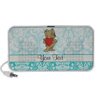 Cute Teddy Bear; Teal iPod Speakers