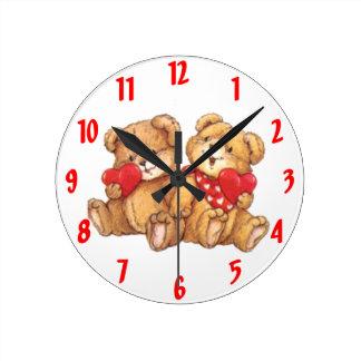 Cute Teddy Bear Valentine Couple Wall Clocks