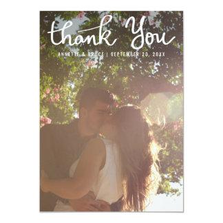 Cute Thank You Typography Script Wedding Photo 13 Cm X 18 Cm Invitation Card