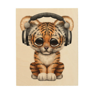 Cute Tiger Cub Dj Wearing Headphones Wood Print