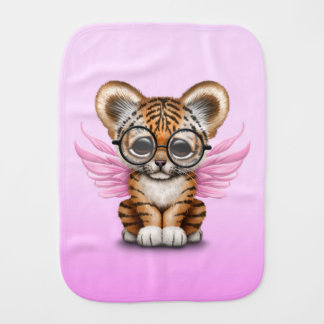 Cute Tiger Cub Fairy Wearing Glasses on Pink Burp Cloth